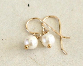 Pearl Earrings-Small Pearl Earrings-June Birthstone Earrings-Pearl Drops, Pearl Dangle Earrings--Flower Girl Earrings-Gifts Under 30