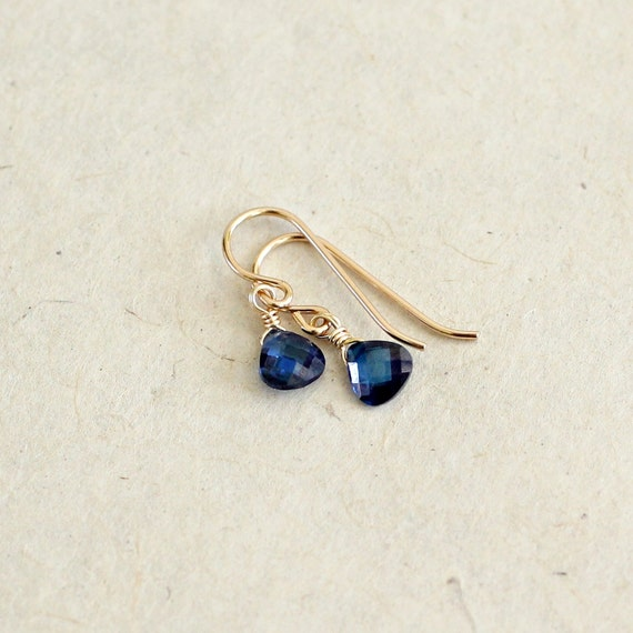 Small Blue Earrings: Sapphire Earrings-Sapphire Teardrop Earrings-September