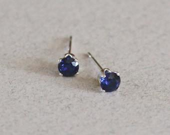 4mm Sapphire Stud Earrings-Sapphire Studs-Sapphire Stud Earrings-4mm Studs-Blur Studs-Small Studs-September Birthstone-Something Blue