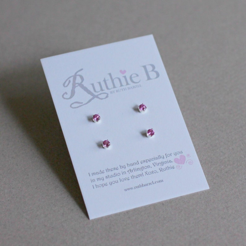 3mm Stud Earring Set-Stud Earrings Set-Stud Set-Small Stud Earrings-Birthstone Studs-Gemstone Studs-Small Studs-Gifts Under 40-Gifts for Her