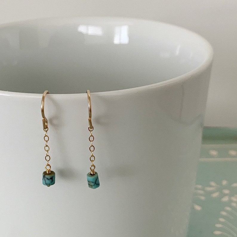 Tiny Turquoise Earrings-Dainty Chain Earrings-Turquoise Chain image 0