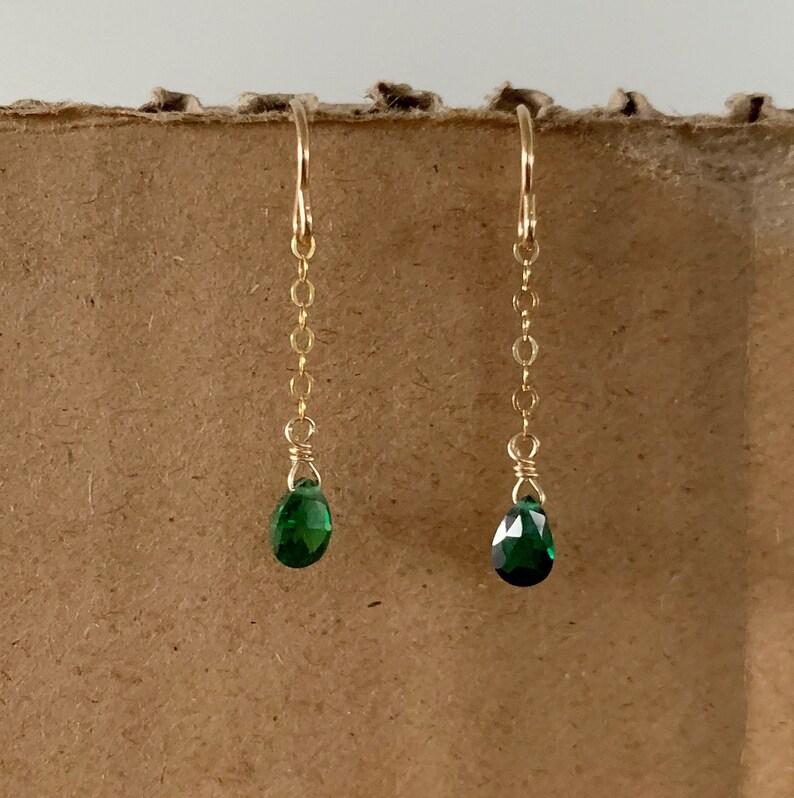 Emerald Earrings-Dainty Green Earrings-Green Earrings-Green image 0