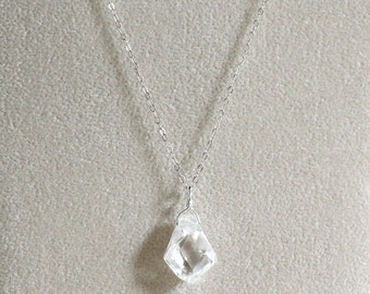 Clear Necklace-Clear Pendant-Cubic Zirconia Pendant-Clear CZ Pendant-Nugget Pendant-Gifts Under 50-Christmas Gift-Gift for Her