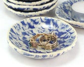 Royal Blue Ring Dish, Lace Printed Trinket Dish, Tiny Plate, Snack Plate, Mini Plate, Jewelry Dish, Spoon Rest, Tea Light Saucer, 10-16-97