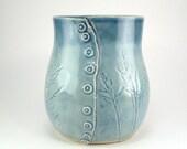 Small Blue Vase, Kitchen Utensil Holder, Button Vase, Blue Pencil Holder, HandBuilt Vessel, Grass Imprinted Vase, Ceramic Vessel 06-17-08