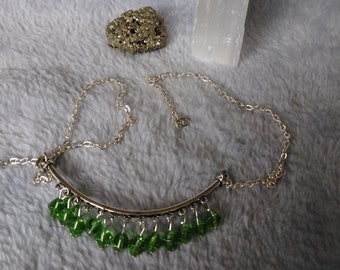Green Austrian Crystals with silverplated chain necklace