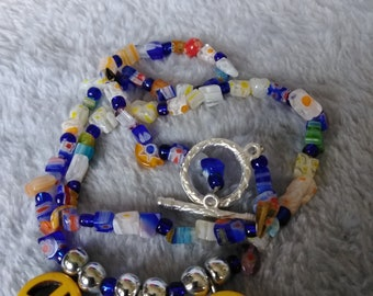 Peace sign mille fiori glass necklace