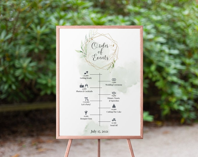 Order Of Events Sign, Wedding Poster Template, Order of Service, Instant Download, Green And Gold, Geometric Greenery Wedding Sign, Eden