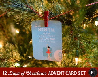 12 Days of Christmas 3 x 4 DIY Printable Christmas Advent Card Set