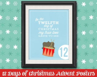 12 Days of Christmas Countdown - 8 x 10 DIY Printable Christmas Advent Poster Set