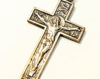 Silber farbene Kruzifix Kreuz Vintage Anhänger (ohne Kette) c1970s