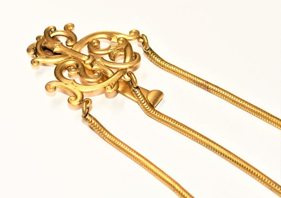Antique Victorian Gilded Brass 3 Strand Gold Colou
