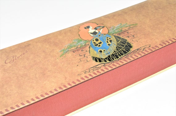 Antique Glove Box Paper Cover Cardboard Lady with