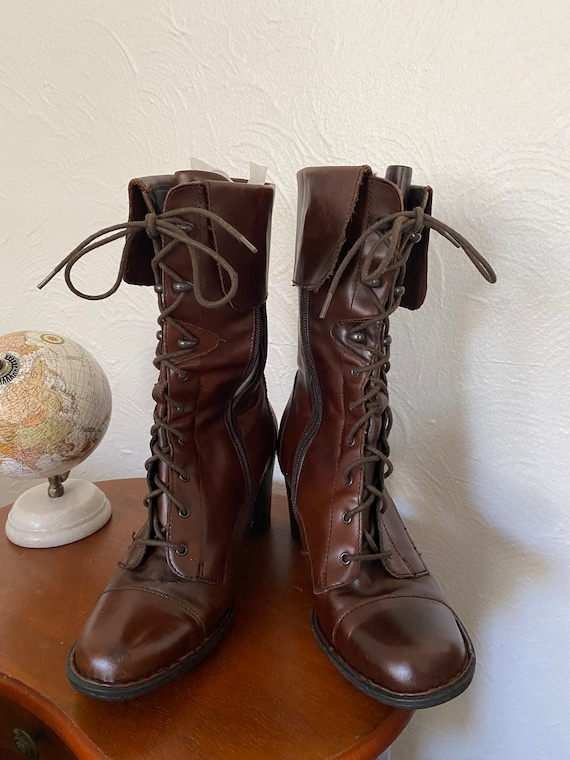 Brown leather granny boots