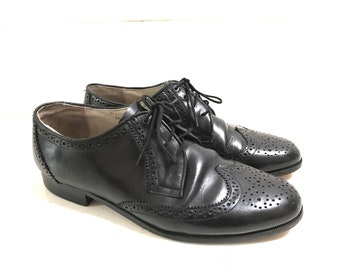 80s minimal black leather brogues, oxfords size UK8 1/2 /EU41 1/2 /US10 1/2