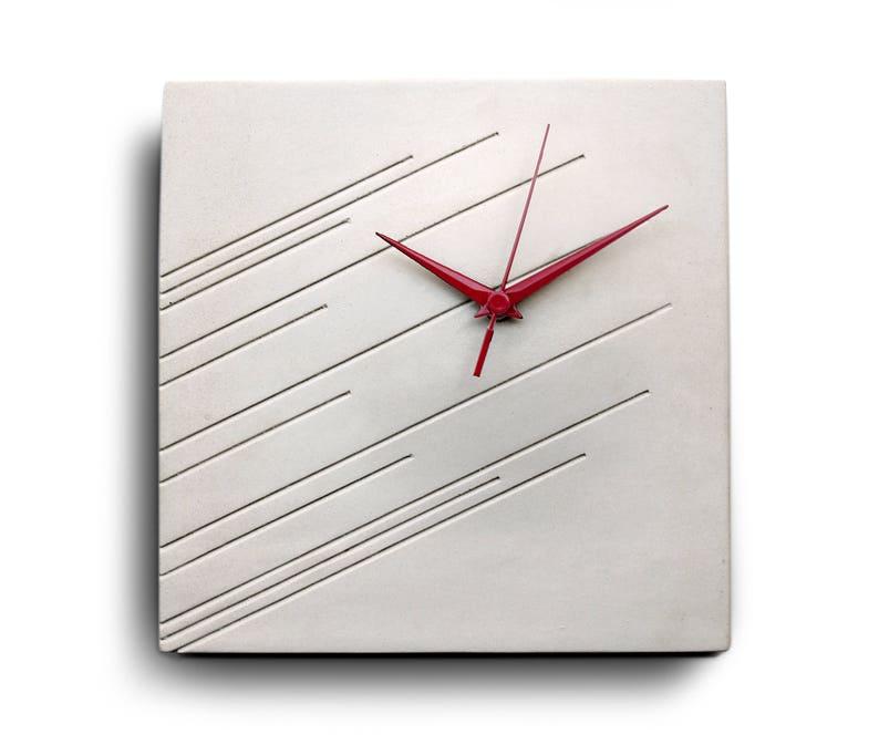 Wall Clock Concrete Contemporary Home Decor Minimalist Modern Design