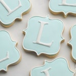Elegant Square Plaque Large Monogram Cookies - One Dozen Decorated Cookies