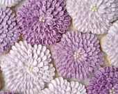 Shades of Purple Dahlia Flower Cookies - One Dozen Decorated Sugar Cookies