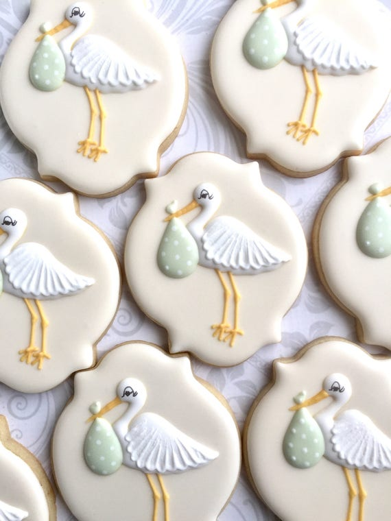 Elegant Green Gender Neutral Stork Baby Shower Cookies One Etsy
