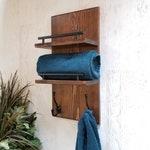 Wood Towel Rack    2 Tier Floating Shelves, Entryway Organizer, Bathroom Organizer, Towel Holder, Farmhouse Style, Bathroom Decor