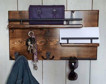 Wood Coat Rack || Entryway Organizer, Mail Storage, Key Hook, Floating Shelf, Wall Mounted Wood Organizer,  Entryway Hooks. Rustic Coat Rack