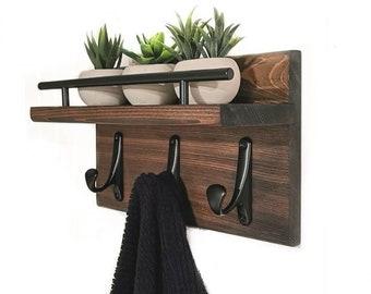 Modern Wood Towel or Coat Rack with Shelf | Entryway Organizer,  Bathroom Organizer, Wall Mounted Wood Organizer,  Entryway Hook