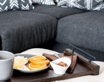 Large Wood Serving Tray with Handles, Ottoman Living Room Tray, Breakfast in Bed Tray, Rustic Wood Tray, Housewarming Gift