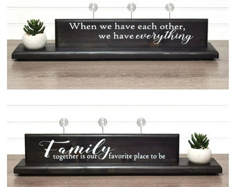 Double Sided Family Photo Display Sign with Faux Succulent Planter, Wire Picture Holder, Triple Picture Holder, Gift for Her, Wedding Gift