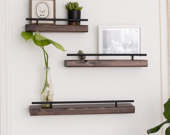 FREE SHIPPING - Rustic Floating Wall Shelf, Narrow Flush Mount Shelving, Modern Wall Shelf, Farmhouse Living Room Decor, Entryway Decor