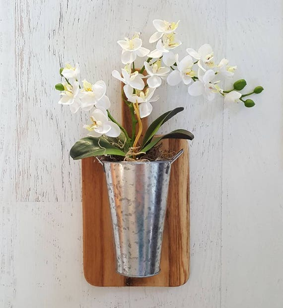 White Orchid Wall Planter Cutting Board Decor Orchid Decor Floral Decor Farmhouse Decor Galvanized Decor Galvanized Bucket Wall Decor