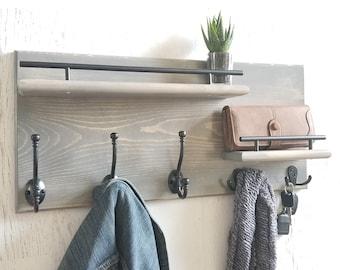 Modern Wooden Entryway Coat Rack, Mudroom Storage, Wall Organizer, Coat Rack, Rustic Home Decor, Modern Furniture, Floating Shelf