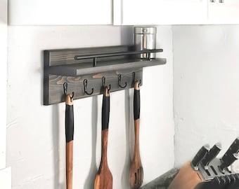 Kitchen Utensil Holder with Spice Rack, Kitchen Storage Shelf, Wall Organizer With Shelf, Housewarming Gift, Chef Gift, Entryway Organizer