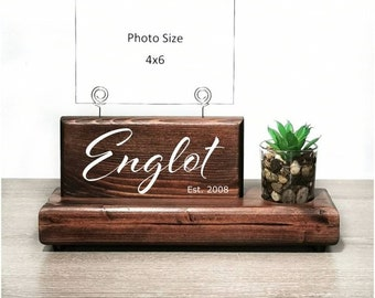 Custom Family Name Picture Display Sign with Glass Bud Vase or Faux Succulent Planter, Wire Picture Holder, Couples Gift, Wedding Gift