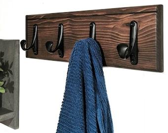 Wood Towel or Coat Rack | Entryway Organizer,  Bathroom Organizer, Wall Mounted Wood Organizer,  Entryway Hook, Rustic Coat Rack