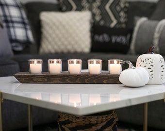 Candle Holder Centerpiece, Wood Candle Tray, Table Centerpiece, Mantel Decor, Farmhouse Decor, Minimalist Decor, Long Candle Holder, Rustic