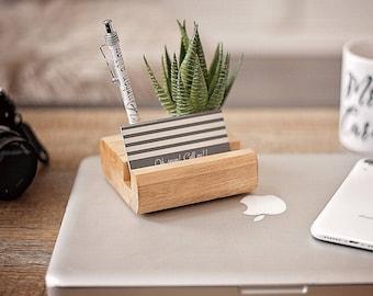 Wood Pen and Business Card Holder, Desk Accessories, Desk Organizer, Office Gift, Office Decor, Minimalist Office, Succulent Decor,