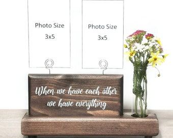 Photo Display Sign with Glass Bud Vase or Faux Succulent Planter, Wire Picture Holder, Couples Gift Wedding Gift, Best Friend Gift