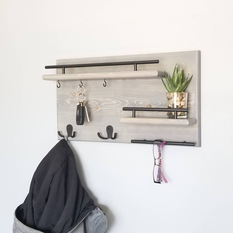 Bathroom Shelves Bathroom Fixtures Natural Wood Clothes Hanger Wall Mounted Coat Hook Decorative Key Holder Hat Scarf Handbag Storage Hanger Bathroom Rack Hooks