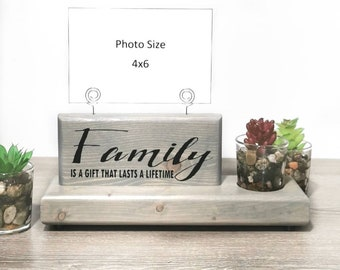 Family Photo Display Sign with Faux Succulent Planter or Glass Bud Vase, Wire Picture Holder, Gift for Her, Wedding Gift, Gift for Mom