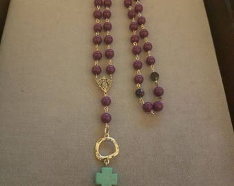 Purple Beaded Rosary style Necklace Southwestern Pendant