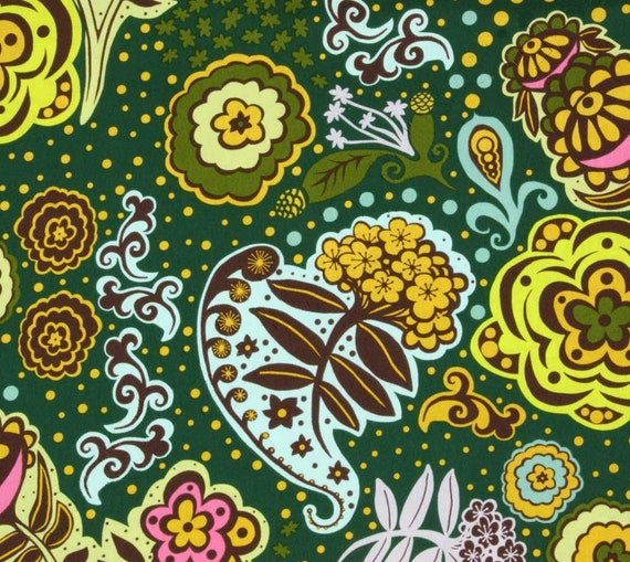 Quilting Fabric 1 yard OOP RARE Anna Maria Horner Fabric Chocolate Lollipop in Green