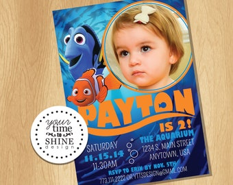 Digital File Only - Nemo and Dory Invitation with Picture