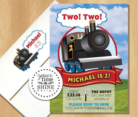 Train Birthday Invitations With Custom Printed Envelopes