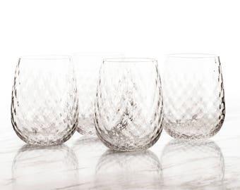 Stemless Wine Glasses in Diamond Pattern