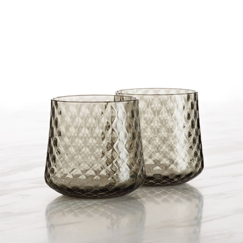 Hand Blown Glass Whiskey Glasses with diamond pattern image 0