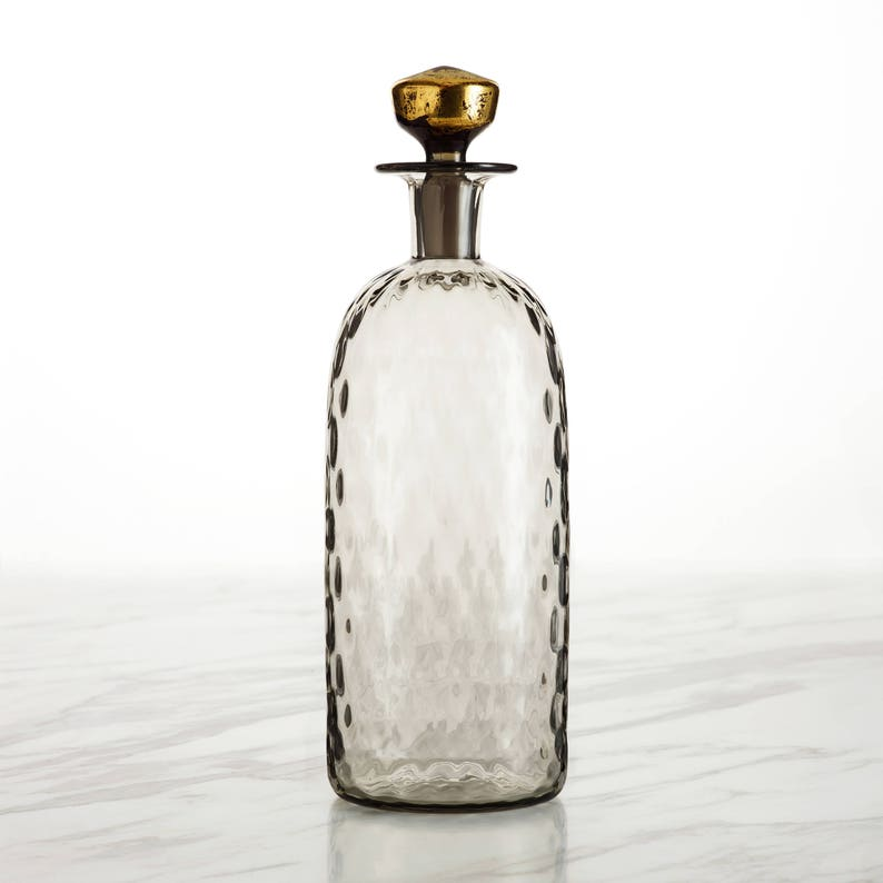 Whiskey Decanter in Antique Grey with 24K Gold Leaf image 0