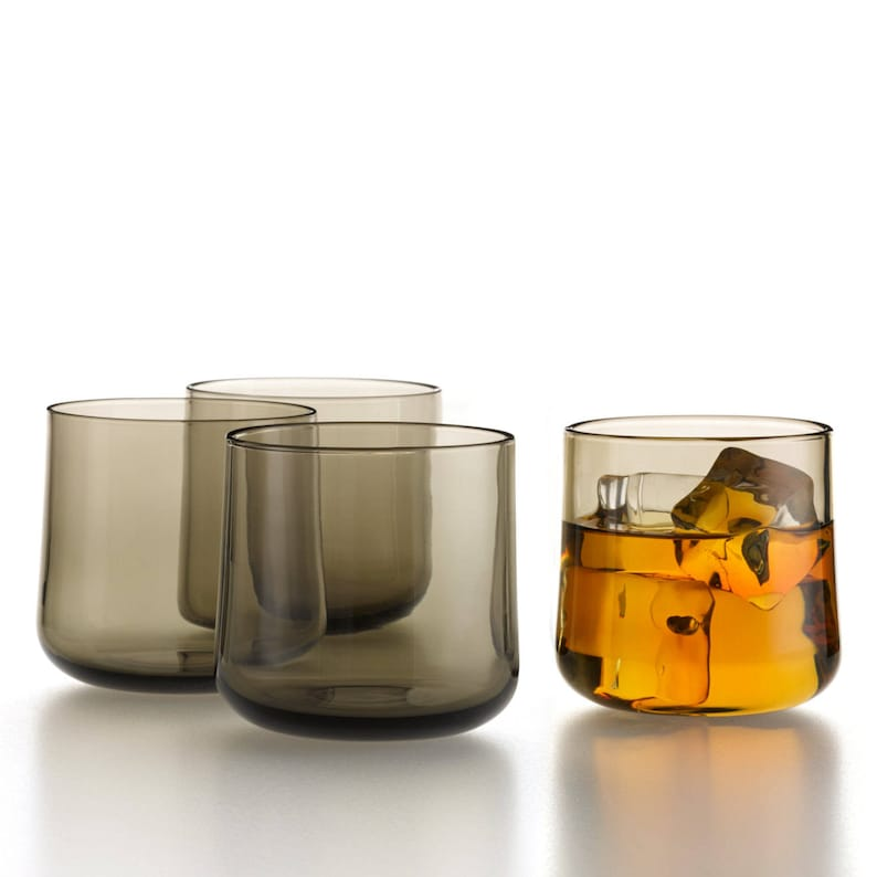 Hand Blown Glass Whiskey Glasses in Antique Grey image 0