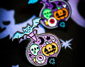Midnight Magic Halloween Potion Bottle Kawaii Fairy Kei Pastel Goth Enamel Pin