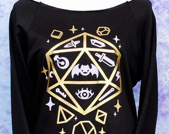 Jelly Roll Polyhedral Dice D20 Graphic 3/4 Sleeve Wide Neck Sweatshirt Fairy Kei Pastel Goth Creepy Cute