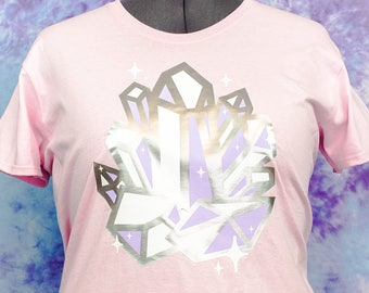 Crystal Cluster Metallic Sparkle Graphic Tee Fairy Kei Pastel Goth Creepy Cute